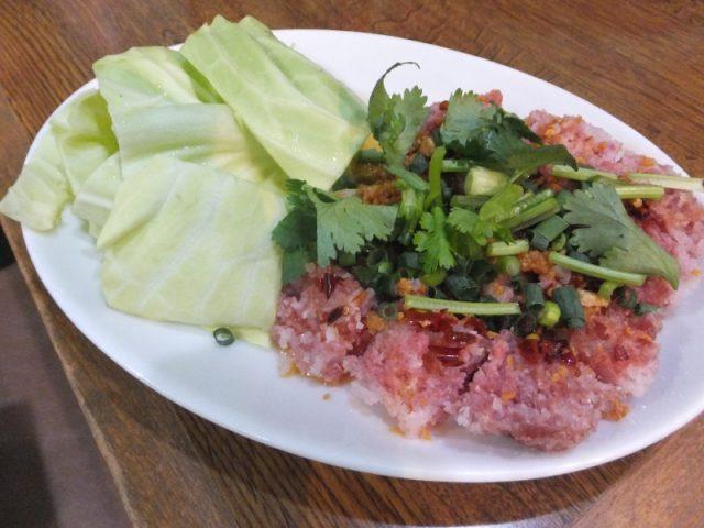 お米と肉の皮なしソーセージ